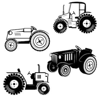 Set van tractor pictogrammen op witte achtergrond. elementen voor logo, label, embleem, teken, badge. illustratie