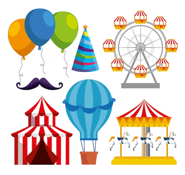 Set van traditionele carnaval decoratie tot festivalviering