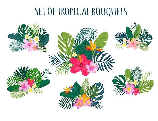 Set van traditionele en tropische bloemen en bladeren. heldere zomerboeketten voor het ontwerpen van ansichtkaarten, uitnodigingen, flyers en kaarten