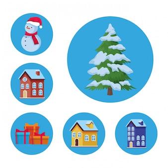 Set van traditionele huizen en kerst gerelateerde pictogrammen