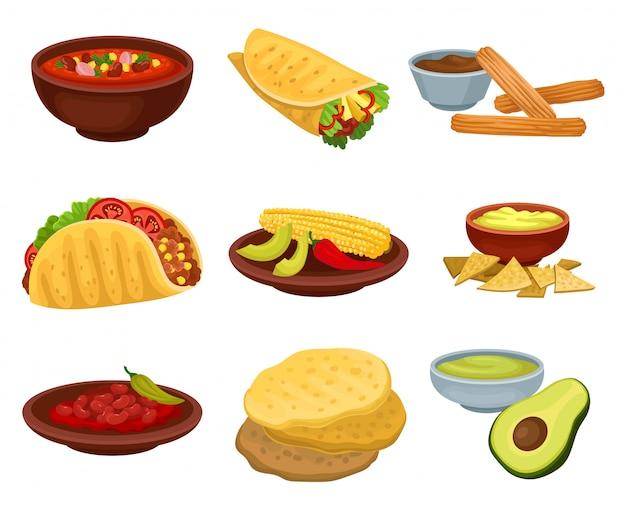 Set van traditionele mexicaanse gerechten. kom pittige soep,