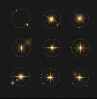 Set van transparant flitslichteffect, speciale lens van zonlicht. heldere gouden flitsen en blikken