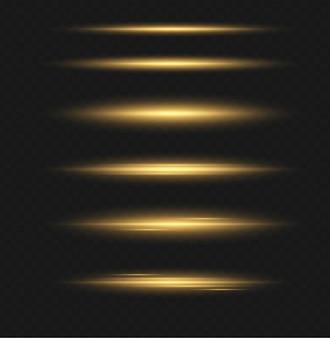 Set van transparant flitslichteffect, speciale lens van zonlicht. heldere gouden flitsen