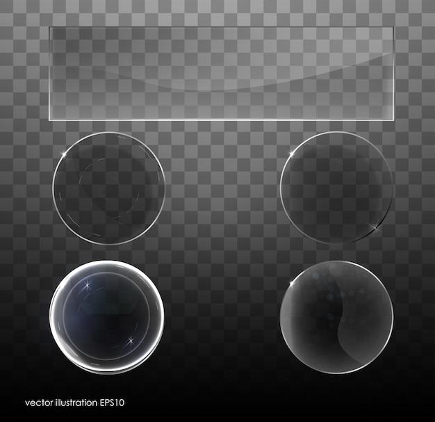 Set van transparant glas op monster achtergrond. kaderset van glas. correct gegroepeerd. illustratie.
