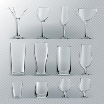 Set van transparant glas