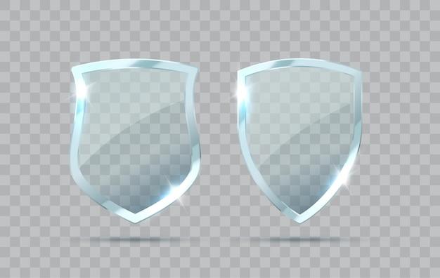 Set van transparant glazen schild geïsoleerd