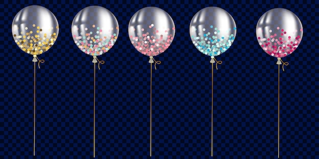 Set van transparante ballon met confetti