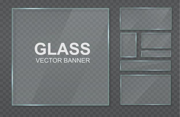 Set van transparante banners gemaakt van glas. glazen lijst.