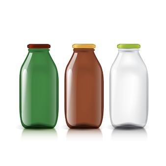 Set van transparante flessen