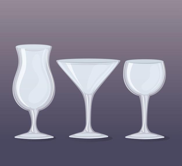 Set van transparante glazen, kopjes wijn en cocktails