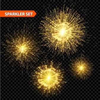 Set van transparante kerst sparkler.