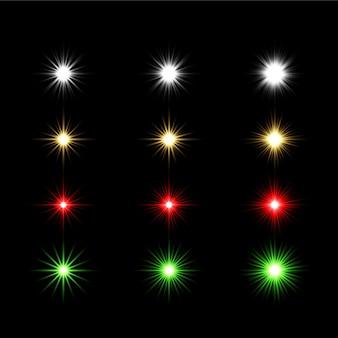 Set van transparante lichte lensflares premium transparante eps