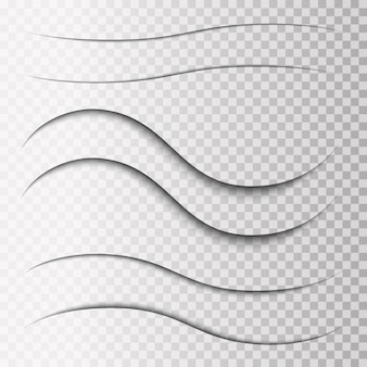Set van transparante overlay-schaduwen. realistische ontwerpelementen