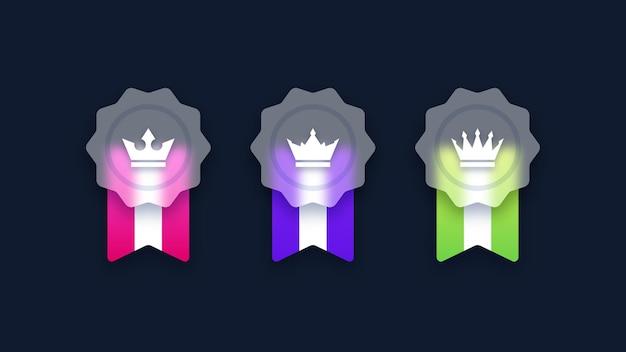 Set van transparante rang badge pictogrammen