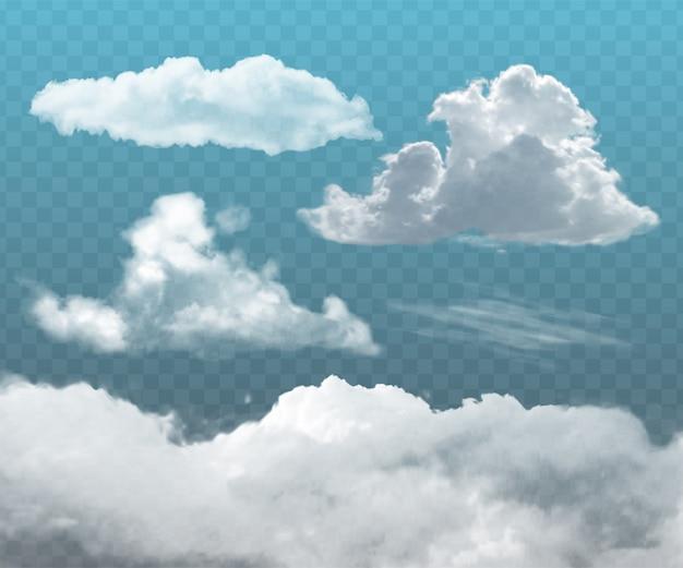 Set van transparante realistische wolken. te gebruiken als decoratief element of voor het creëren van een achtergrond.
