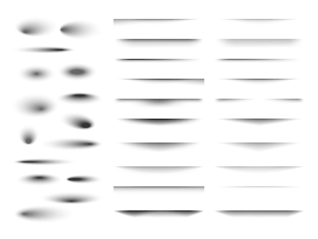 Set van transparante schaduw met zachte randen. realistisch schaduweffect geïsoleerd op transparante achtergrond verschillende vormen. vector illustratie.