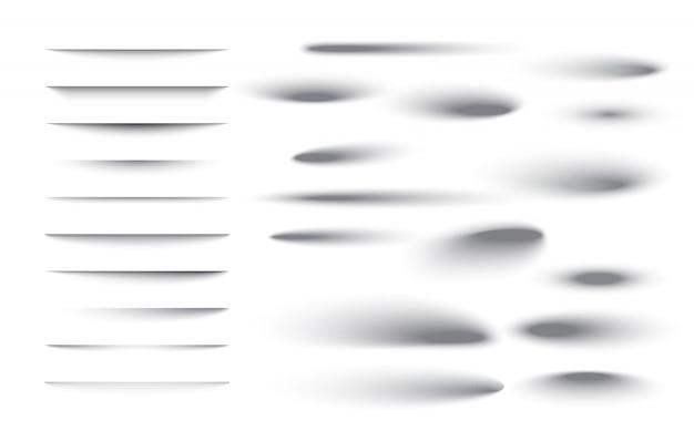 Set van transparante schaduw met zachte randen. realistisch schaduweffect geïsoleerd