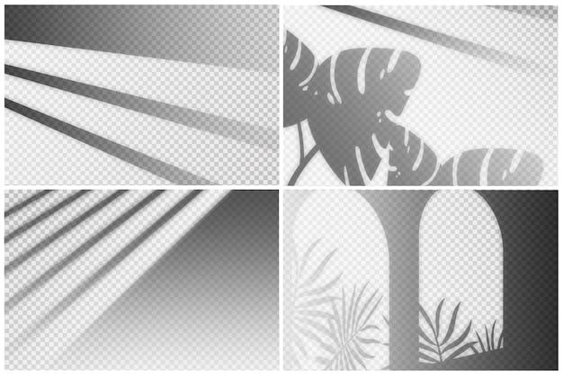 Set van transparante schaduwen overlay-effect