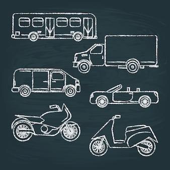 Set van transportschetsen op schoolbord