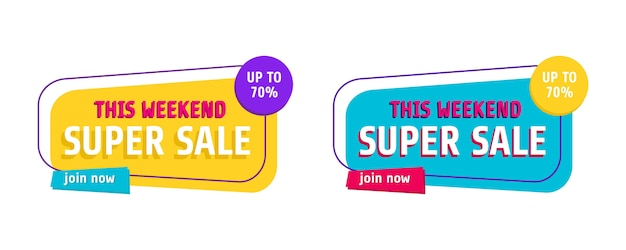Set van trendy abstracte banners. flash verkoop poster en banner.