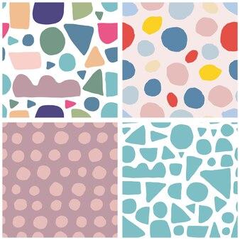 Set van trendy abstracte vlek vorm naadloze patroon