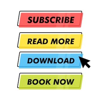 Set van trendy actieknop voor web, mobiele app. sjabloon modern navigatieknopmenu.