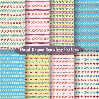 Set van trendy handgetekende naadloze patroon, abstracte handgetekende patroon