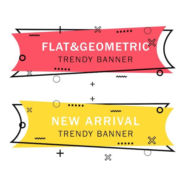 Set van trendy platte geometrische banners