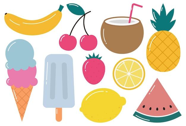 Set van tropisch fruit ijs en ander zomervoedsel geïsoleerd