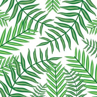 Set van tropische bladeren planten patroon achtergrond