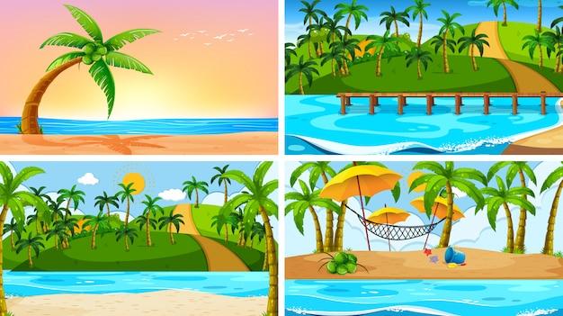 Set van tropische oceaan natuur scènes met stranden