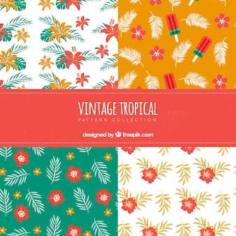 Set van tropische patronen in vintage stijl