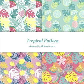 Set van tropische patronen met planten en fruit in vlakke stijl