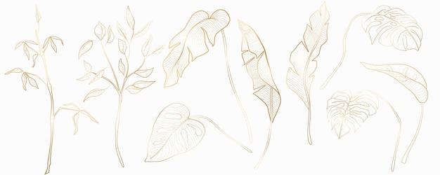 Set van tropische planten voor textieldecor, webbanners, sociale netwerken