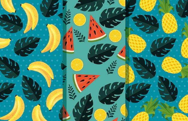 Set van tropische vruchten met exotische bladeren planten patroon