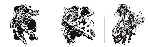 Set van tshirt design astronaut in gitaarspelen