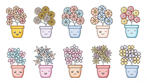 Set van tuinplanten in potten kawaii karakters