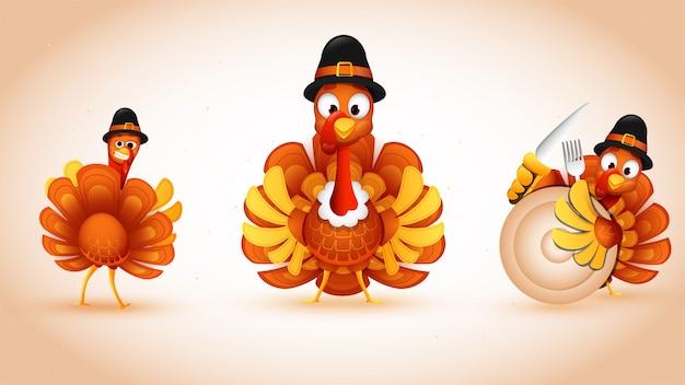 Set van turkije vogel pelgrim hoed met plaat, vork en mes dragen