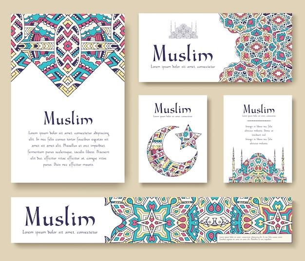 Set van turkse flyer pagina ornament illustratie concept