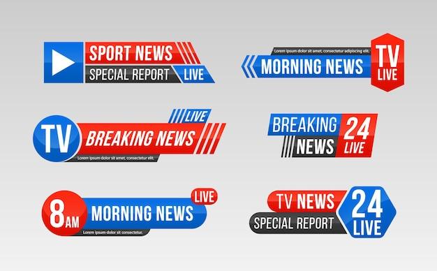 Set van tv-nieuwsbalk nieuwsbanner voor tv-streaming breaking news bannertekst