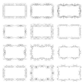 Set van twaalf decoratieve vintage horizontale frames met de plaats voor uw tekst in het midden. vintage sieraad wenskaartsjabloon. vector illustratie.