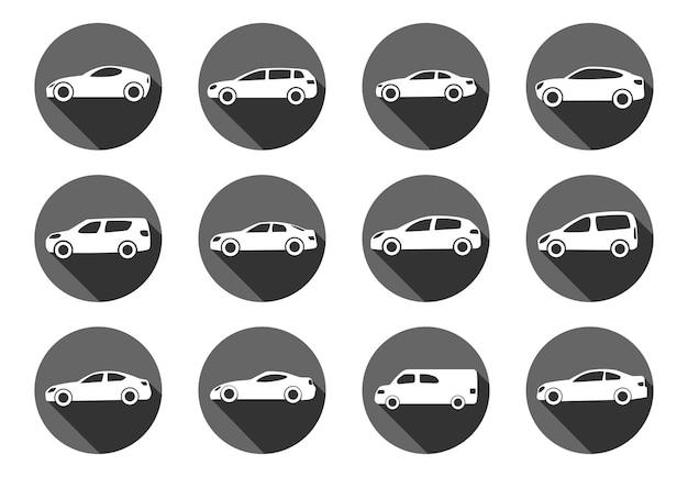 Set van twaalf vlakke stijl auto's in cirkels met schaduw. vector illustratie