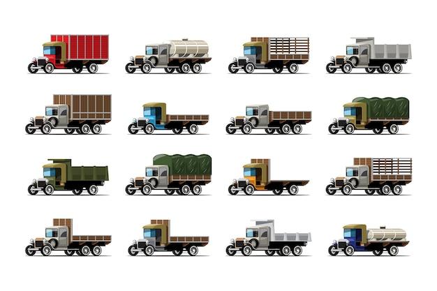 Set van twaalf vrachtwagens en tank met verschil in antiek ontwerp op wit