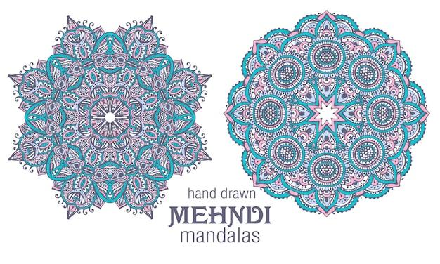 Set van twee abstracte ronde mandala's met kantontwerp, decoratieve elementen. mehndi-stijl
