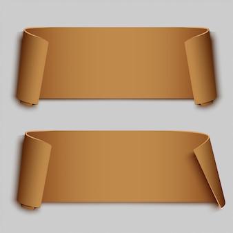 Set van twee bruine gebogen textielbanners,
