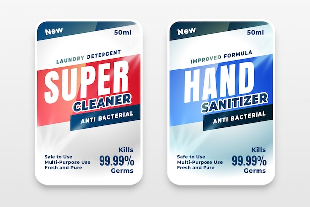 Set van twee etiketten voor wasmiddel en desinfectiemiddel