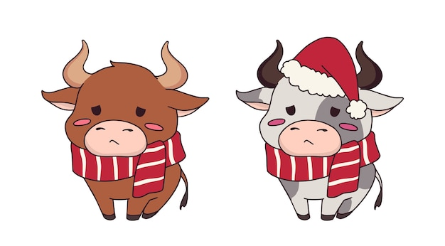 Set van twee grappige kleine koe met kerstmuts en sjaal
