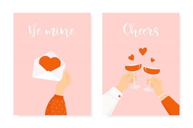Set van twee happy st. valentijnsdag ontwerp