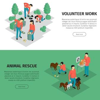 Set van twee isometrische liefdadigheids horizontale banner met bewerkbare tekst lees meer knop en menselijke personages vector illustratie