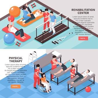Set van twee isometrische revalidatie fysiotherapie horizontale banners met afbeeldingen bewerkbare tekst en lees meer knop